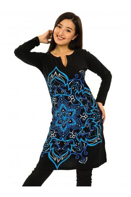 Šaty s dlouhým rukávem Sheela - černá s modrou