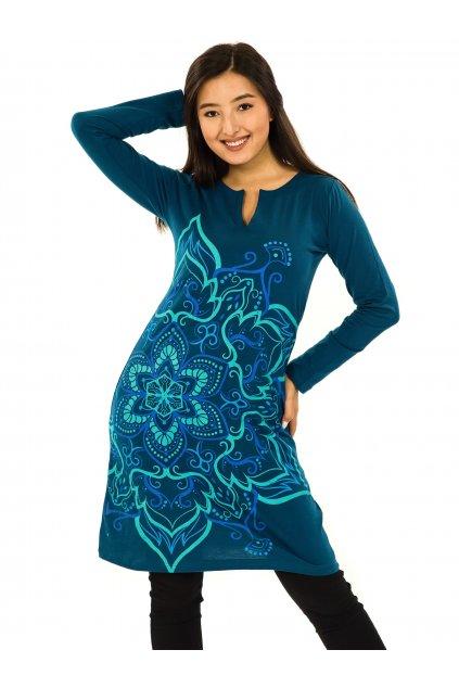 Šaty s dlouhým rukávem Sheela - petrolejová