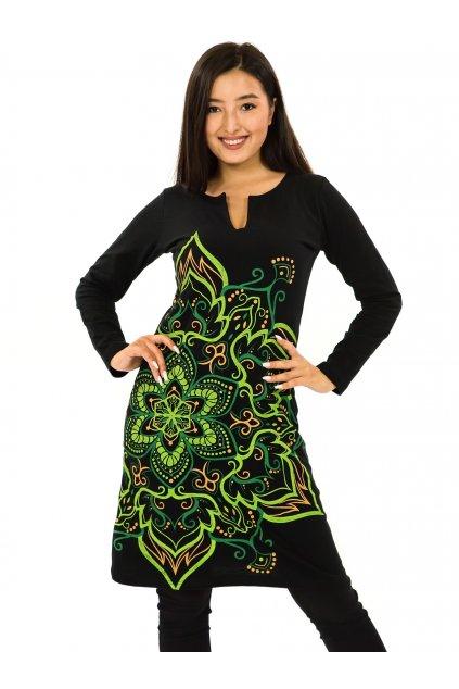 Šaty s dlouhým rukávem Sheela - černá se zelenou