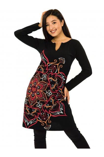 Šaty s dlouhým rukávem Sheela - černá s červenou