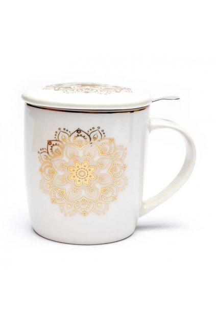 Čajový set Mandala - bílá se zlatou