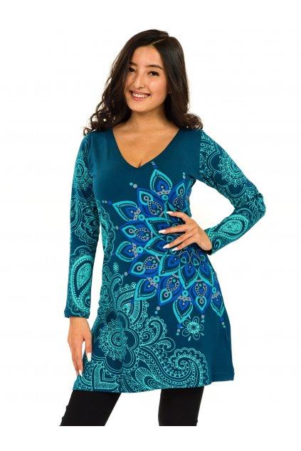Šaty s dlouhým rukávem Angama - petrolejová