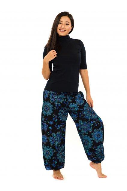 Kalhoty Rhea - černá s tyrkysovou a modrou