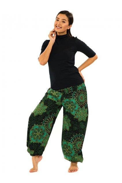 Kalhoty Zuri - černá s tyrkysovou a zelenou