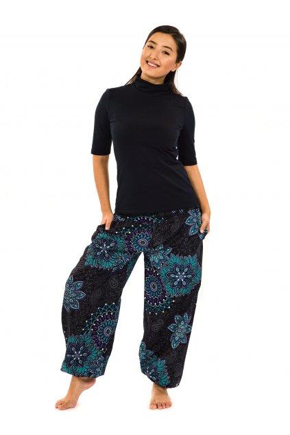 Kalhoty Zuri - černá s tyrkysovou a fialovou