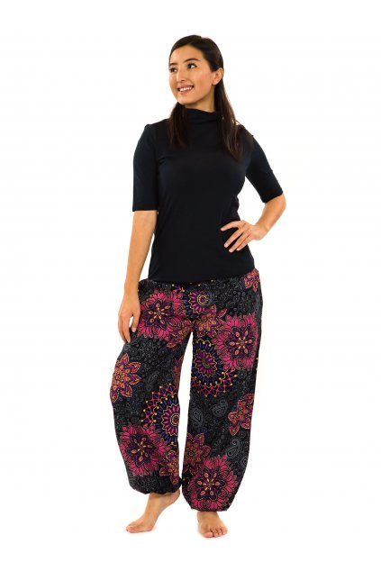 Kalhoty Zuri - černá s růžovou