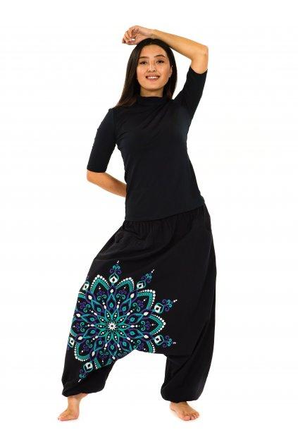 Harémové kalhoty Rania - černá s tyrkysovou a fialovou