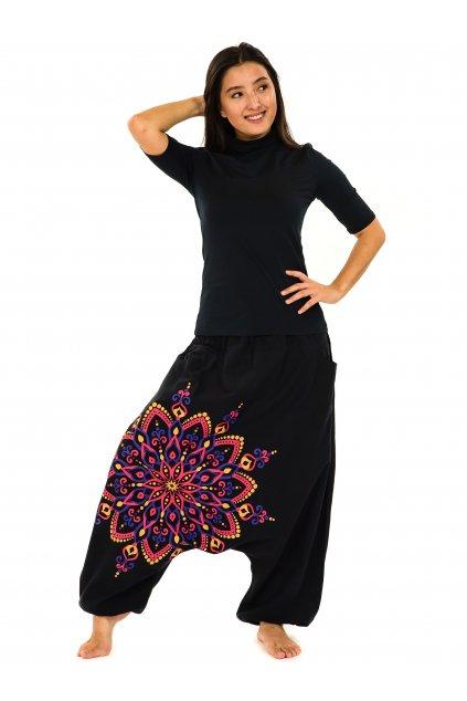 Harémové kalhoty Rania - černá s růžovou
