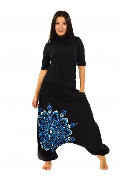 Harémové kalhoty Rania - černá s modrou