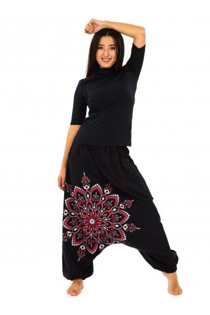 Harémové kalhoty Rania - černá s červenou