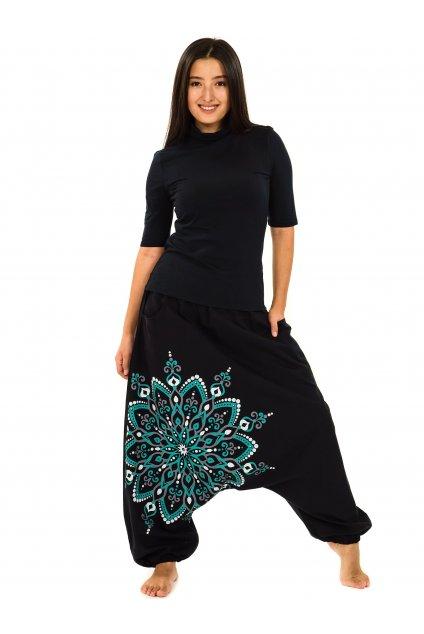 Harémové kalhoty Rania - černá s tyrkysovou