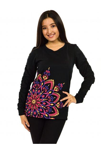 Mikina Aisha - černá s růžovou
