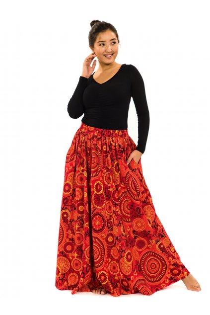 Maxi sukně Anuta s kapsami - červená