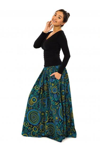 Maxi sukně Anuta s kapsami - petrolejová