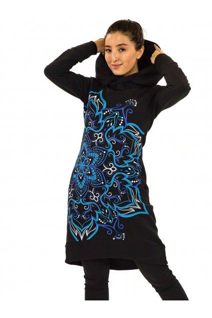 Šatomikina s maxi kapucí Subira - černá s modrou