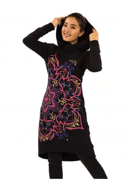 Šatomikina s maxi kapucí Subira - černá s růžovou