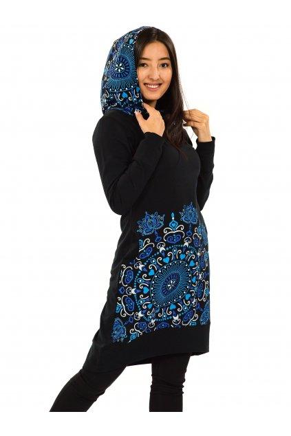 Šatomikina s maxi kapucíNayla - černá s modrou