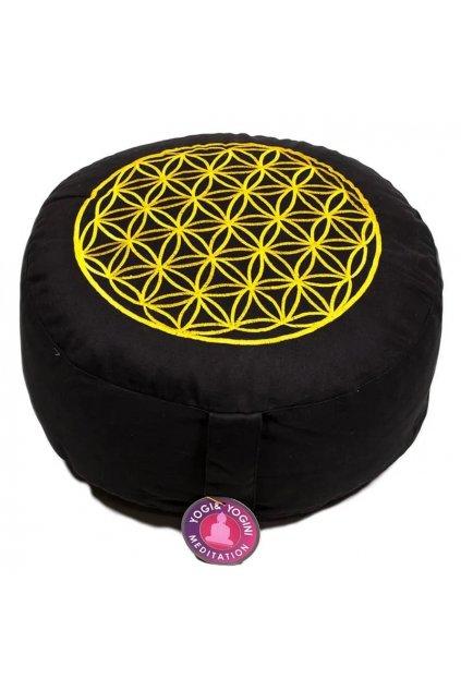 Meditační polštář květ života - černý se zlatou