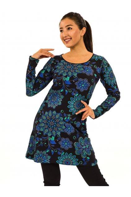 Šaty s dlouhým rukávem Moya - černá s tyrkysovou