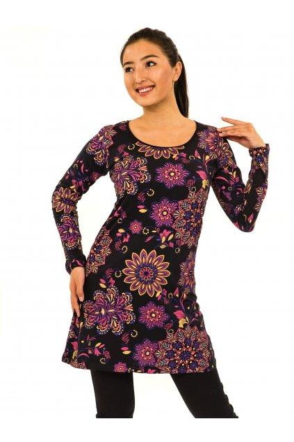 Šaty s dlouhým rukávem Moya - černá s růžovou