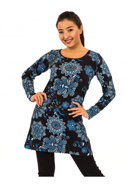 Šaty s dlouhým rukávem Moya - černá s modrou