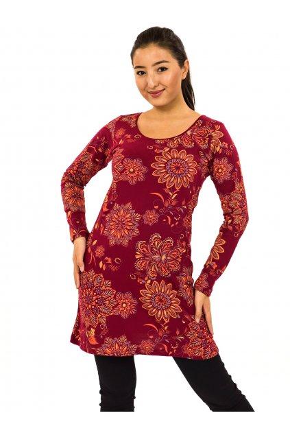Šaty s dlouhým rukávem Moya - vínová