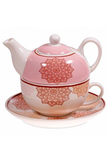 Čajový set s konvičkou  Mandala - růžový