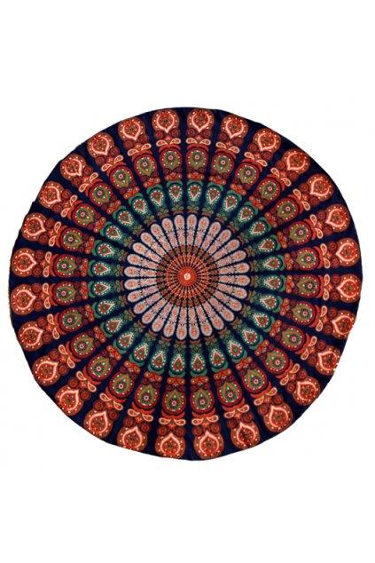 Deka/osuška Mandala - oranžová s modrou
