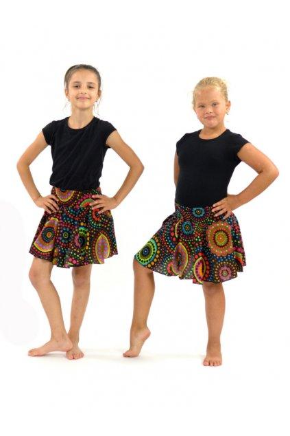 Dětská kolová sukně Dot - černé
