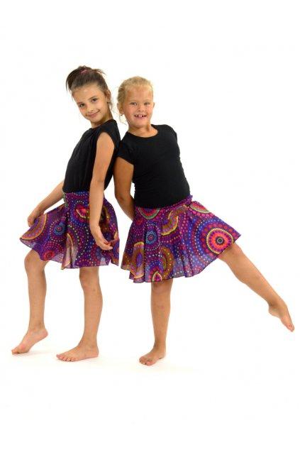 Dětská kolová sukně Dot - fialové