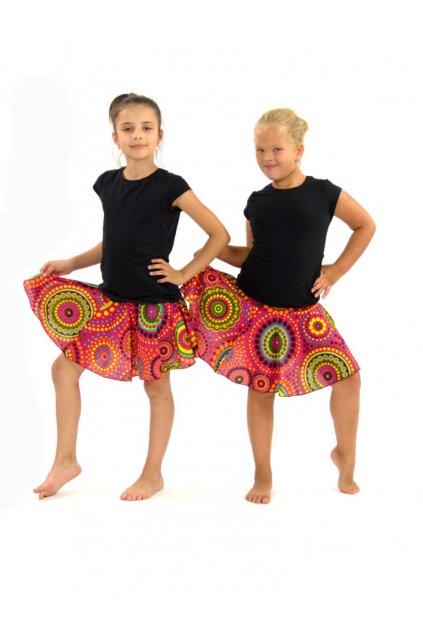 Dětská kolová sukně Dot - růžové
