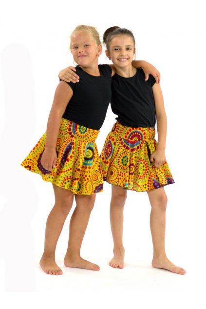 Dětská kolová sukně Dot - žluté