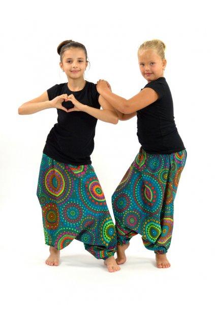Dětské kalhoty-šaty-top 3v1 Dot - tyrkysové