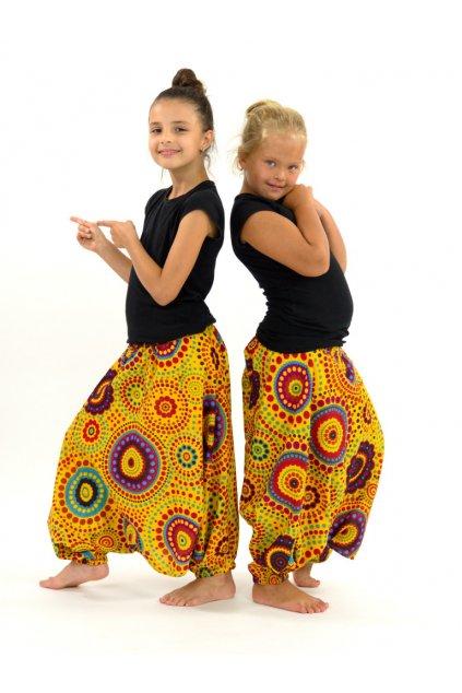 Dětské kalhoty-šaty-top 3v1 Dot - žluté