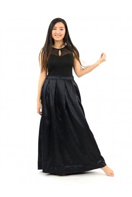Dlouhá saténová sukně Aruni - černá