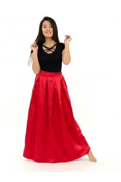 Dlouhá saténová sukně Aruni - červená