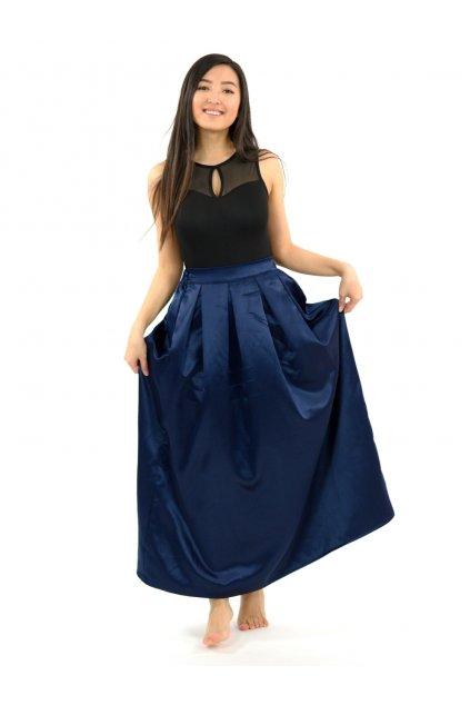 Dlouhá saténová sukně Aruni - tmavě modrá