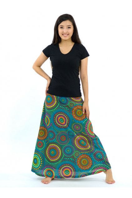 Dlouhá sukně Dot - tyrkysová