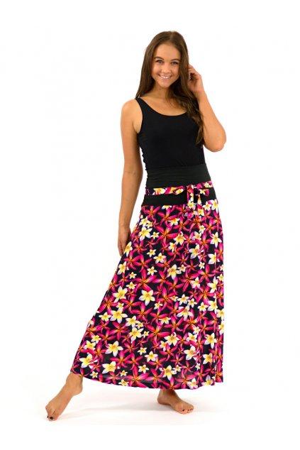 Dlouhá sukně Plumerie - černá