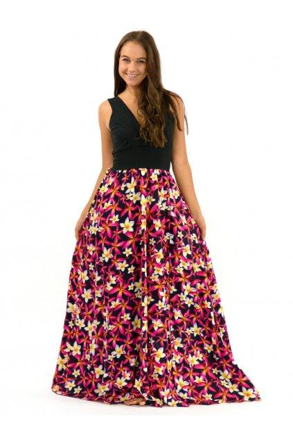 Dlouhé maxi šaty Plumerie - černé
