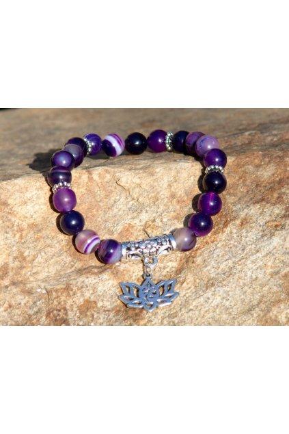 Energetický náramek achát fialový s lotosem