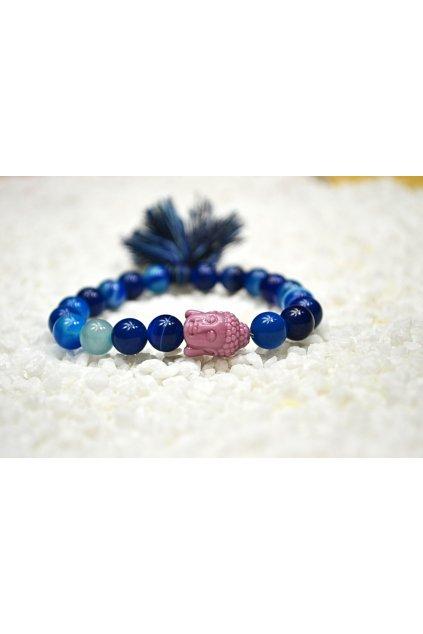 Energetický náramek achát modrý se střapečkem a Buddhou 2
