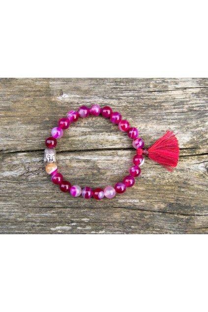 Energetický náramek achát růžový se střapečkem a Buddhou