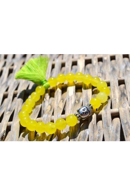 Energetický náramek Jadeit žlutý se střapečkem a Buddhou