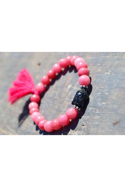 Energetický náramek Jaspis růžový s Buddhou a střapečkem