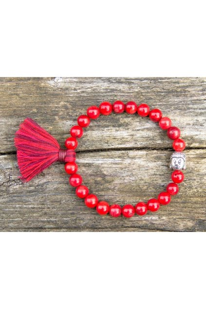 Energetický náramek korál červený se střapečkem a Buddhou