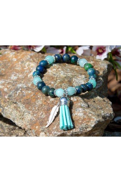 Energetický náramek malachit s lapis lazuli a amazonit