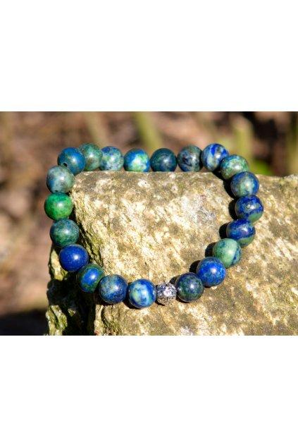 Energetický náramek malachit s lapis lazuli a korálkem