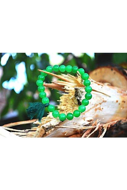Energetický náramek onyx zelený se střapečkem