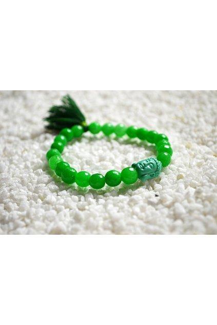 Energetický náramek onyx zelený se střapečkem a Buddhou 2